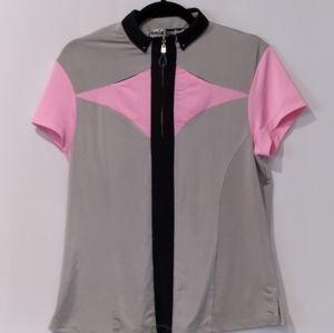 Jamie Sadock golf grey and pink w/ black 1/4 zip